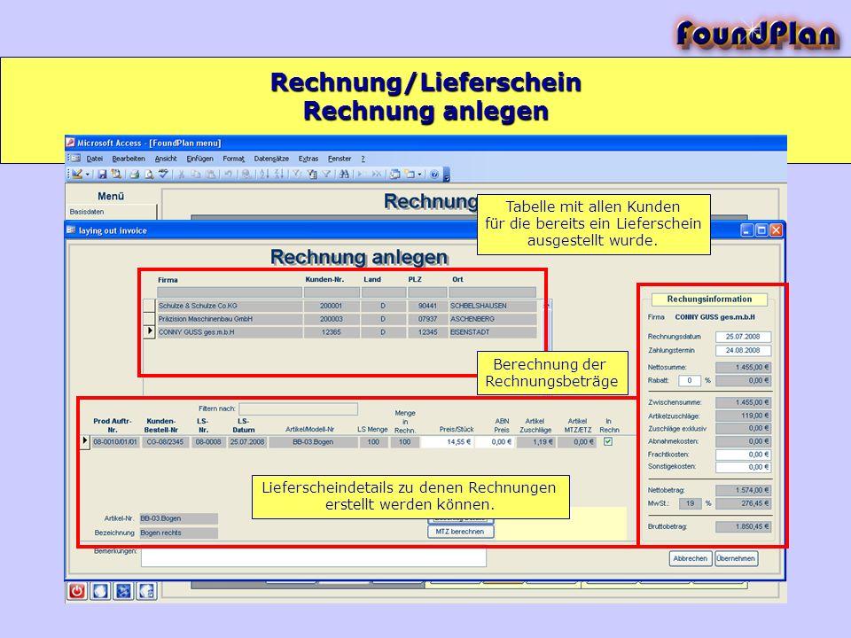 Rechnung/Lieferschein Tabelle mit allen Kunden für die bereits ein Lieferschein ausgestellt wurde. Lieferscheindetails zu denen Rechnungen erstellt we