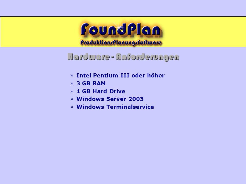 Hardware - Anforderungen »Intel Pentium III oder höher »3 GB RAM »1 GB Hard Drive »Windows Server 2003 »Windows Terminalservice