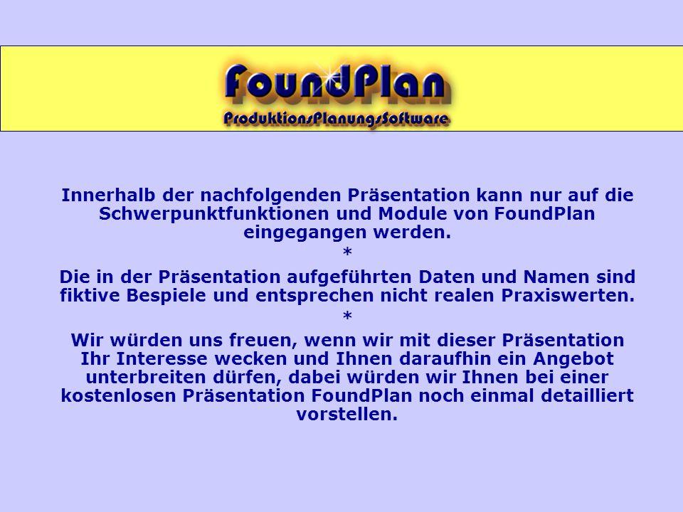 Innerhalb der nachfolgenden Präsentation kann nur auf die Schwerpunktfunktionen und Module von FoundPlan eingegangen werden. * Die in der Präsentation