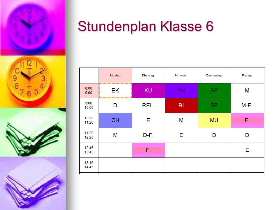 Stundenplan Klasse 7