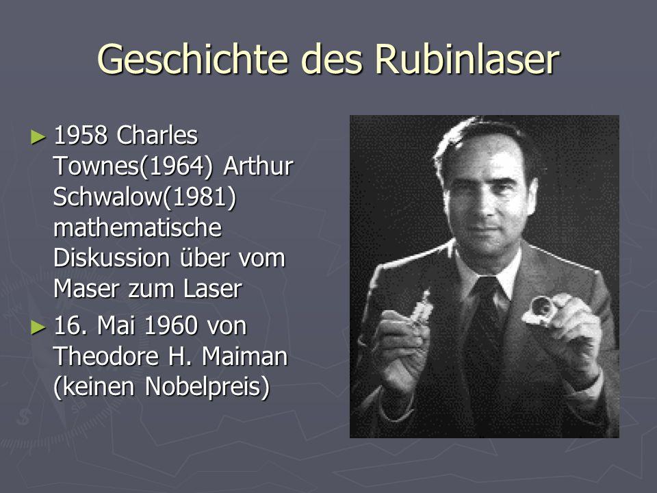 Geschichte des Rubinlaser 1958 Charles Townes(1964) Arthur Schwalow(1981) mathematische Diskussion über vom Maser zum Laser 1958 Charles Townes(1964)
