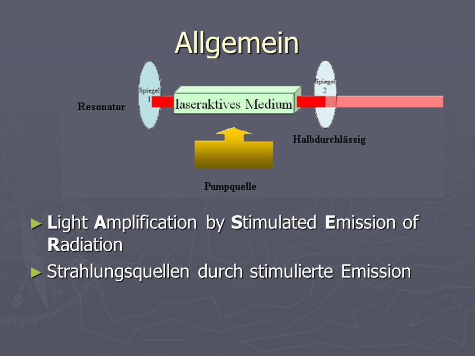 Allgemein Light Amplification by Stimulated Emission of Radiation Light Amplification by Stimulated Emission of Radiation Strahlungsquellen durch stim