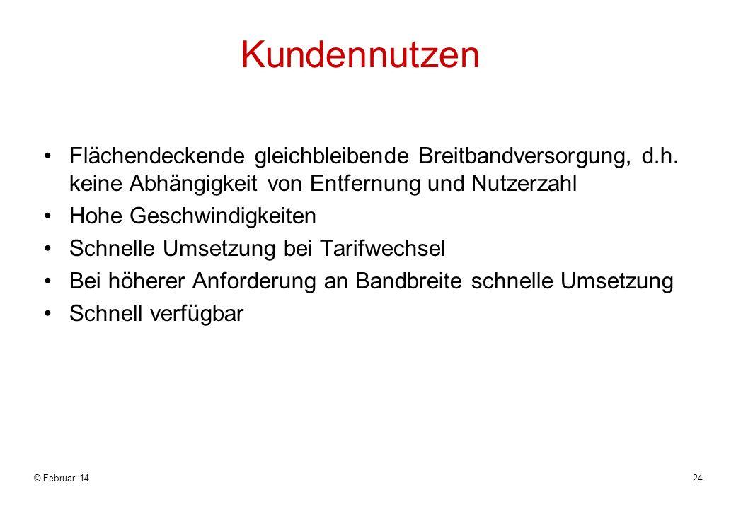 © Februar 1424 Kundennutzen Flächendeckende gleichbleibende Breitbandversorgung, d.h.