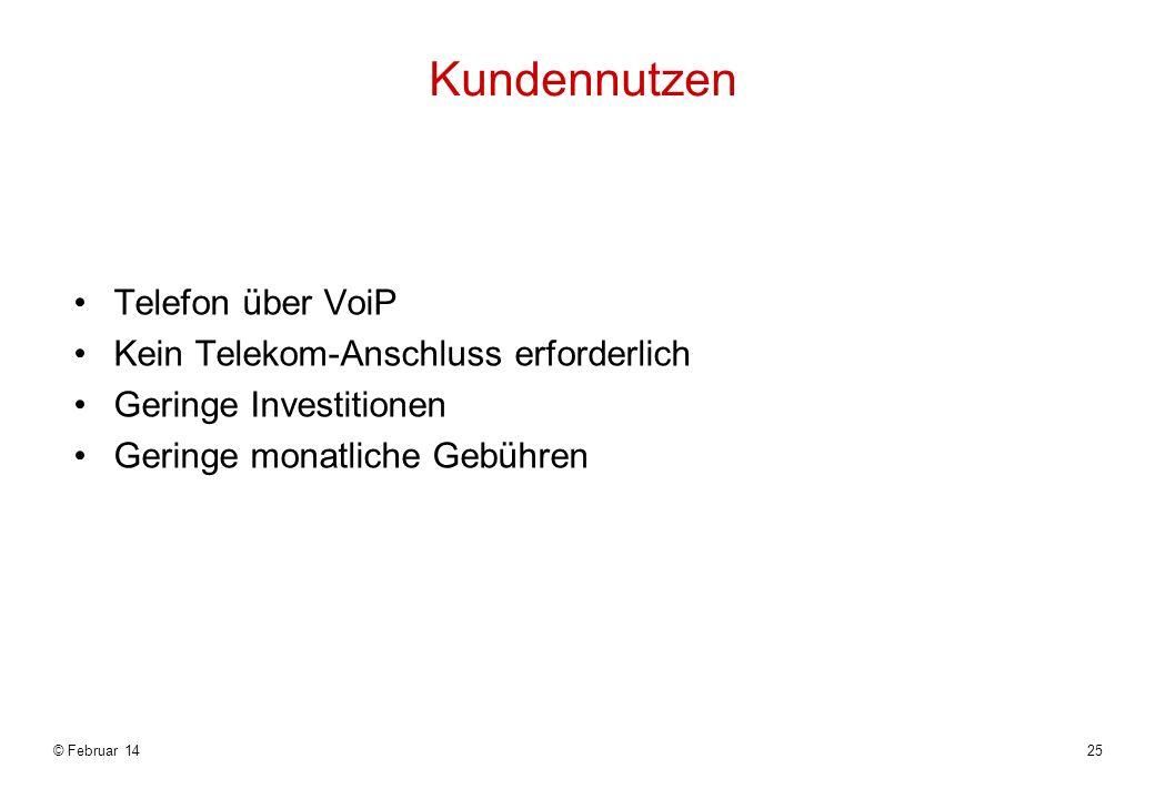 Kundennutzen Telefon über VoiP Kein Telekom-Anschluss erforderlich Geringe Investitionen Geringe monatliche Gebühren © Februar 1425