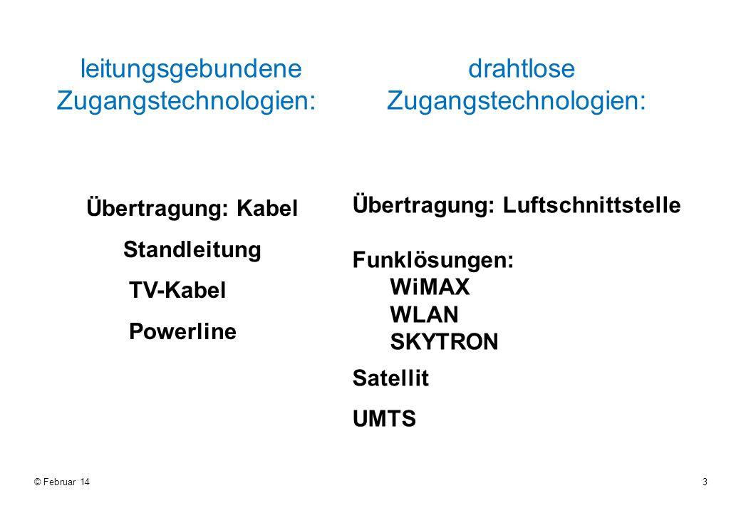 3 leitungsgebundene Zugangstechnologien: drahtlose Zugangstechnologien: Übertragung: Kabel Standleitung TV-Kabel Powerline Übertragung: Luftschnittstelle Funklösungen: WiMAX WLAN SKYTRON Satellit UMTS