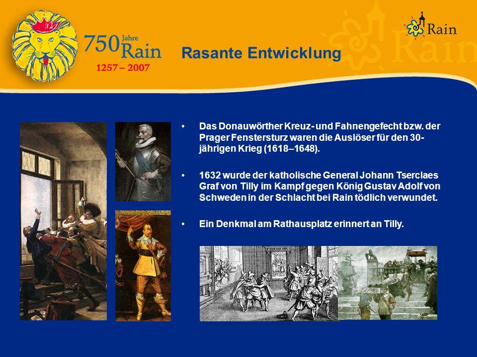 Rasante Entwicklung Das Donauwörther Kreuz- und Fahnengefecht bzw. der Prager Fenstersturz waren die Auslöser für den 30- jährigen Krieg (1618–1648).