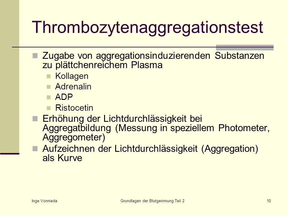 Inge Vonnieda Grundlagen der Blutgerinnung Teil 210 Thrombozytenaggregationstest Zugabe von aggregationsinduzierenden Substanzen zu plättchenreichem P