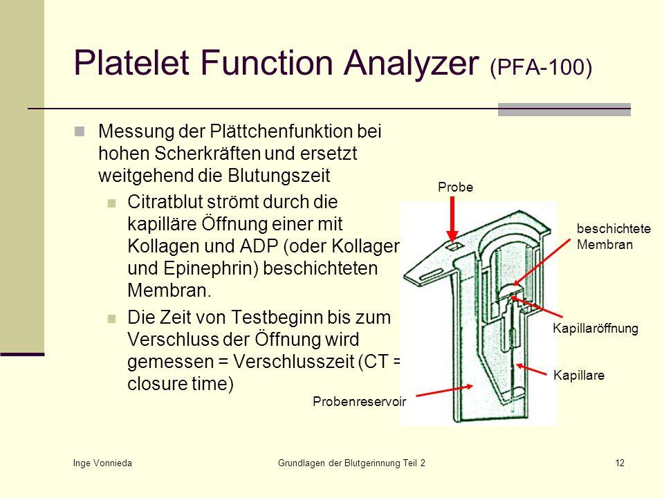 Inge Vonnieda Grundlagen der Blutgerinnung Teil 212 Platelet Function Analyzer (PFA-100) Messung der Plättchenfunktion bei hohen Scherkräften und erse