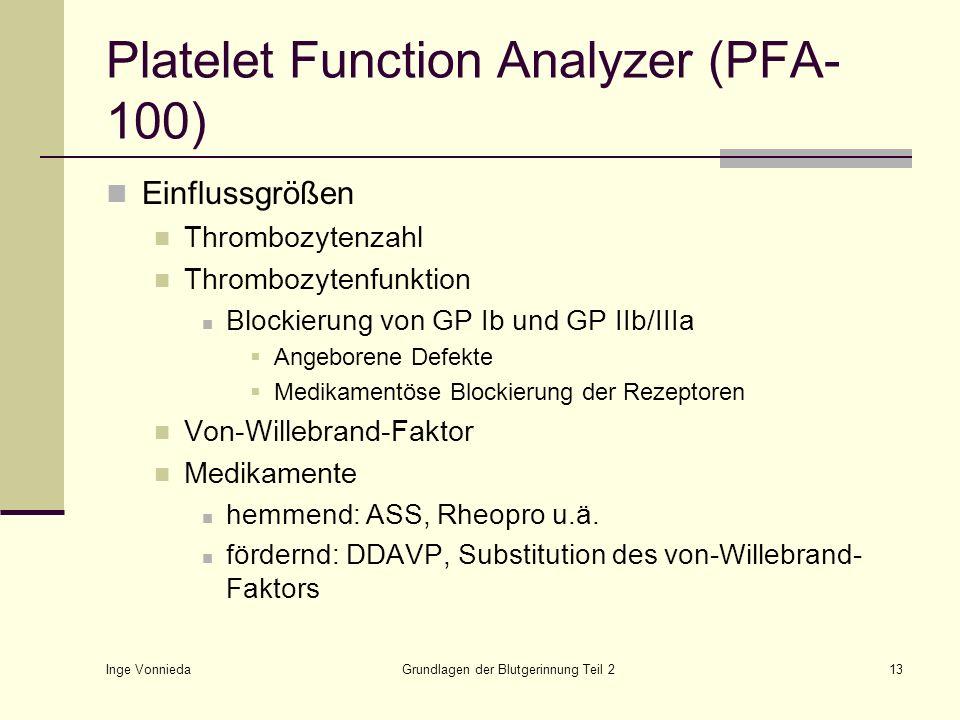Inge Vonnieda Grundlagen der Blutgerinnung Teil 213 Platelet Function Analyzer (PFA- 100) Einflussgrößen Thrombozytenzahl Thrombozytenfunktion Blockie