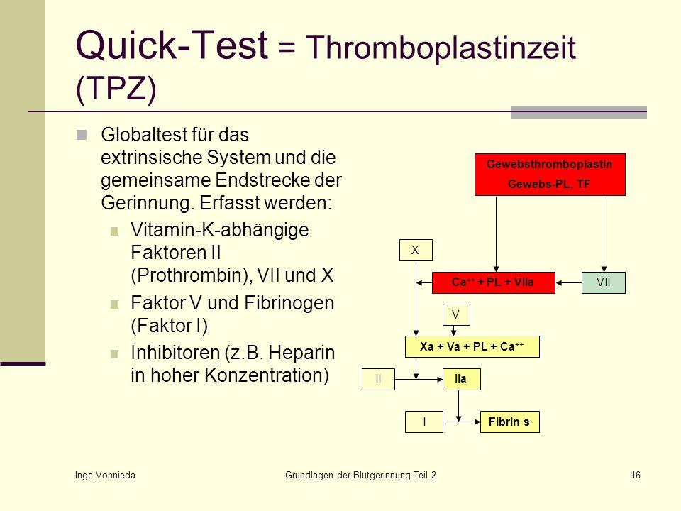 Inge Vonnieda Grundlagen der Blutgerinnung Teil 216 Quick-Test = Thromboplastinzeit (TPZ) Globaltest für das extrinsische System und die gemeinsame En
