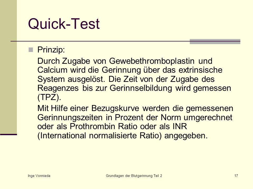 Inge Vonnieda Grundlagen der Blutgerinnung Teil 217 Quick-Test Prinzip: Durch Zugabe von Gewebethromboplastin und Calcium wird die Gerinnung über das