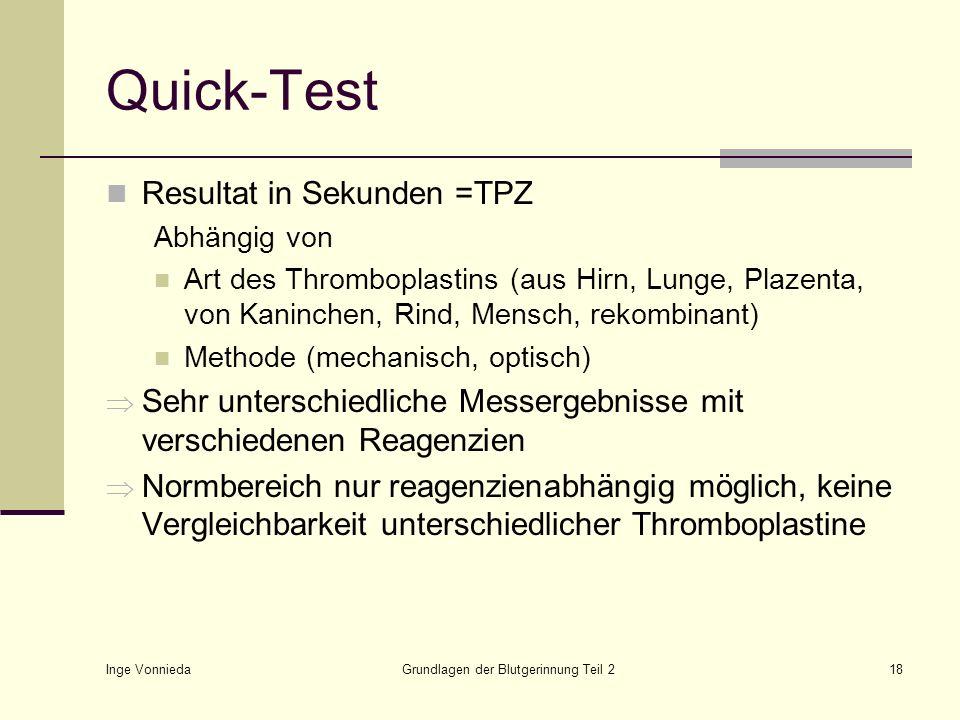 Inge Vonnieda Grundlagen der Blutgerinnung Teil 218 Quick-Test Resultat in Sekunden =TPZ Abhängig von Art des Thromboplastins (aus Hirn, Lunge, Plazen