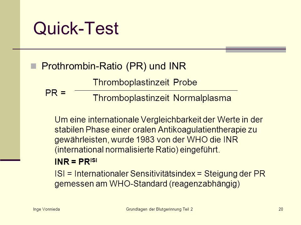 Inge Vonnieda Grundlagen der Blutgerinnung Teil 220 Quick-Test Prothrombin-Ratio (PR) und INR PR = Um eine internationale Vergleichbarkeit der Werte i