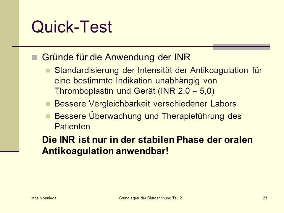 Inge Vonnieda Grundlagen der Blutgerinnung Teil 221 Quick-Test Gründe für die Anwendung der INR Standardisierung der Intensität der Antikoagulation fü