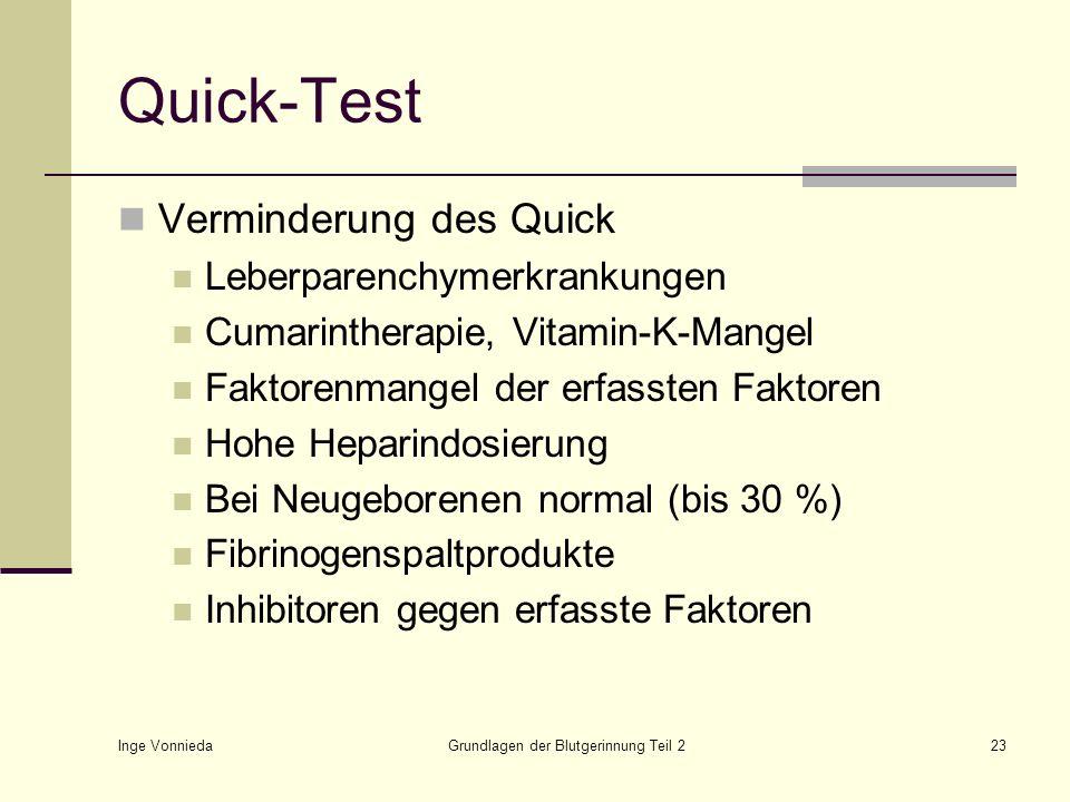 Inge Vonnieda Grundlagen der Blutgerinnung Teil 223 Quick-Test Verminderung des Quick Leberparenchymerkrankungen Cumarintherapie, Vitamin-K-Mangel Fak