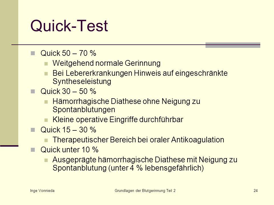 Inge Vonnieda Grundlagen der Blutgerinnung Teil 224 Quick-Test Quick 50 – 70 % Weitgehend normale Gerinnung Bei Lebererkrankungen Hinweis auf eingesch