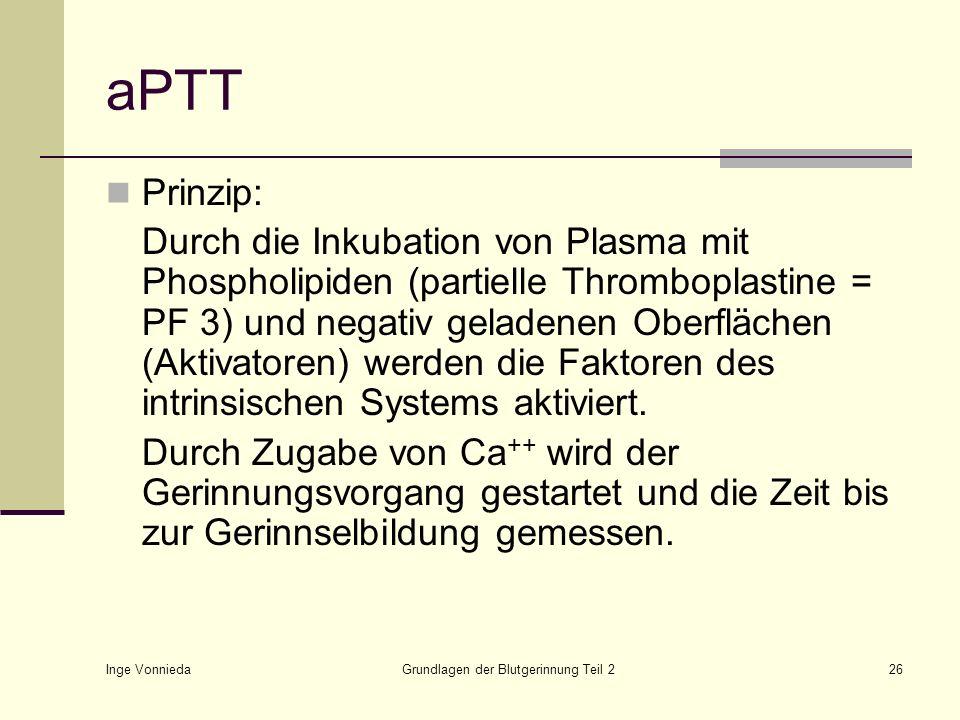 Inge Vonnieda Grundlagen der Blutgerinnung Teil 226 aPTT Prinzip: Durch die Inkubation von Plasma mit Phospholipiden (partielle Thromboplastine = PF 3