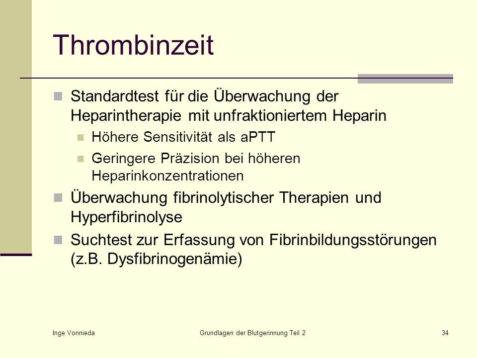 Inge Vonnieda Grundlagen der Blutgerinnung Teil 234 Thrombinzeit Standardtest für die Überwachung der Heparintherapie mit unfraktioniertem Heparin Höh