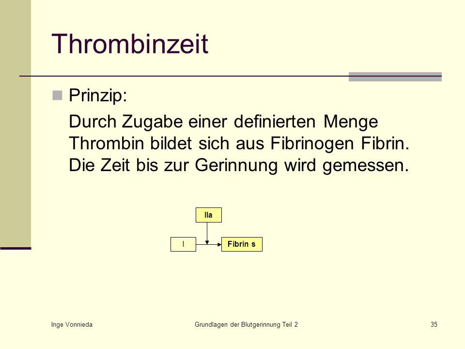 Inge Vonnieda Grundlagen der Blutgerinnung Teil 235 Thrombinzeit Prinzip: Durch Zugabe einer definierten Menge Thrombin bildet sich aus Fibrinogen Fib