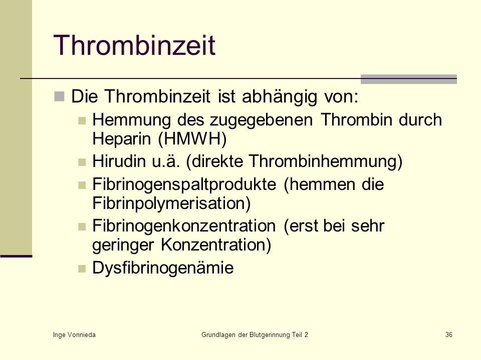 Inge Vonnieda Grundlagen der Blutgerinnung Teil 236 Thrombinzeit Die Thrombinzeit ist abhängig von: Hemmung des zugegebenen Thrombin durch Heparin (HM