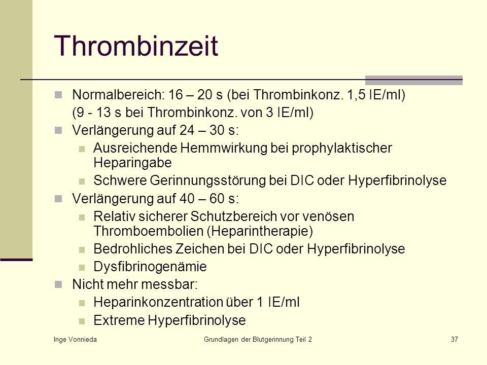 Inge Vonnieda Grundlagen der Blutgerinnung Teil 237 Thrombinzeit Normalbereich: 16 – 20 s (bei Thrombinkonz. 1,5 IE/ml) (9 - 13 s bei Thrombinkonz. vo