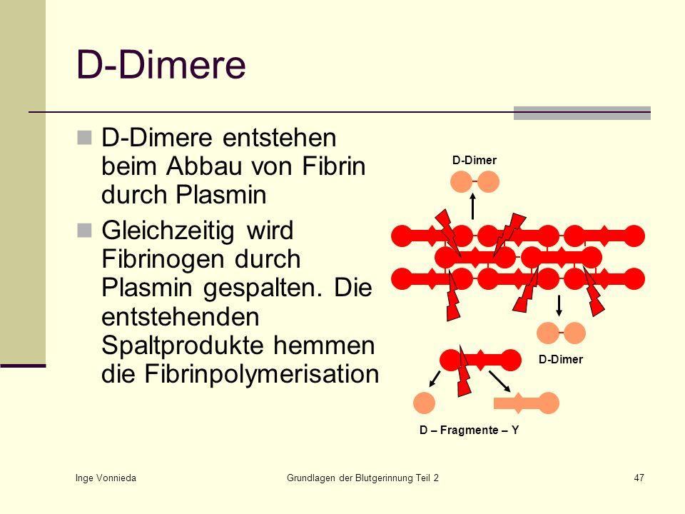 Inge Vonnieda Grundlagen der Blutgerinnung Teil 247 D-Dimere D-Dimere entstehen beim Abbau von Fibrin durch Plasmin Gleichzeitig wird Fibrinogen durch