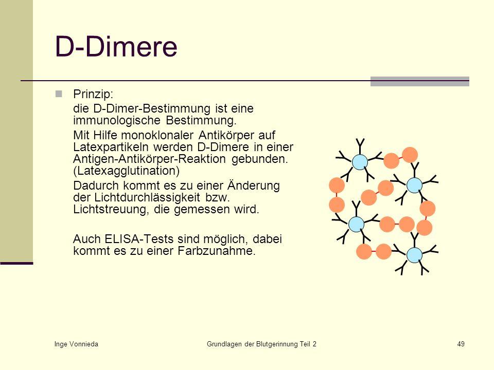 Inge Vonnieda Grundlagen der Blutgerinnung Teil 249 D-Dimere Prinzip: die D-Dimer-Bestimmung ist eine immunologische Bestimmung. Mit Hilfe monoklonale