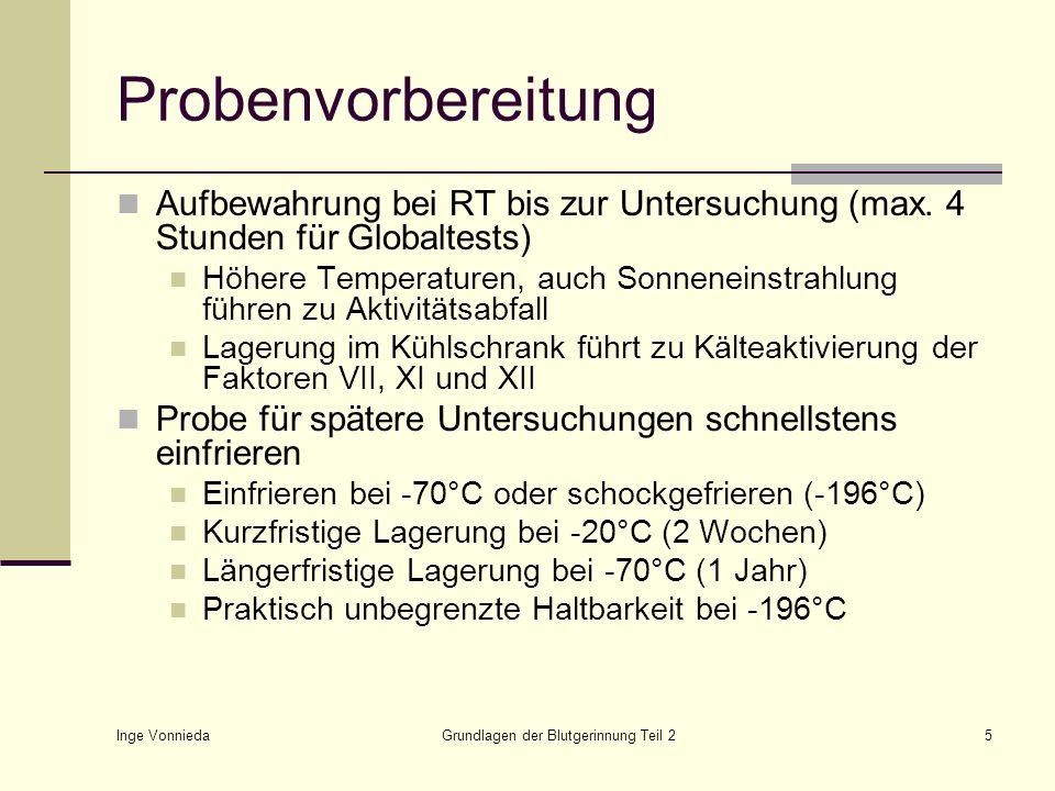 Inge Vonnieda Grundlagen der Blutgerinnung Teil 25 Probenvorbereitung Aufbewahrung bei RT bis zur Untersuchung (max. 4 Stunden für Globaltests) Höhere