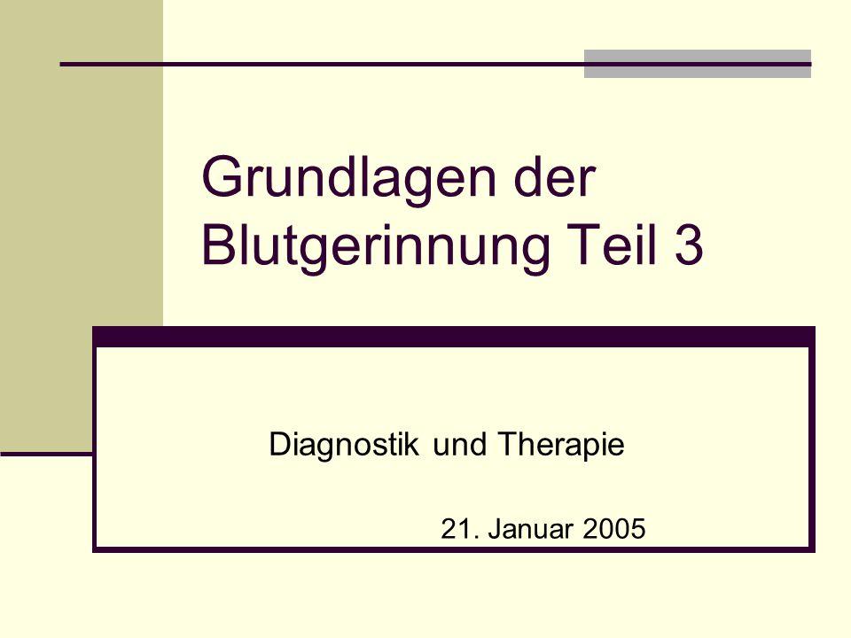 Grundlagen der Blutgerinnung Teil 3 Diagnostik und Therapie 21. Januar 2005