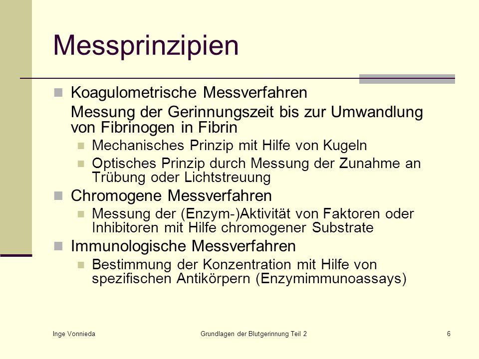 Inge Vonnieda Grundlagen der Blutgerinnung Teil 26 Messprinzipien Koagulometrische Messverfahren Messung der Gerinnungszeit bis zur Umwandlung von Fib