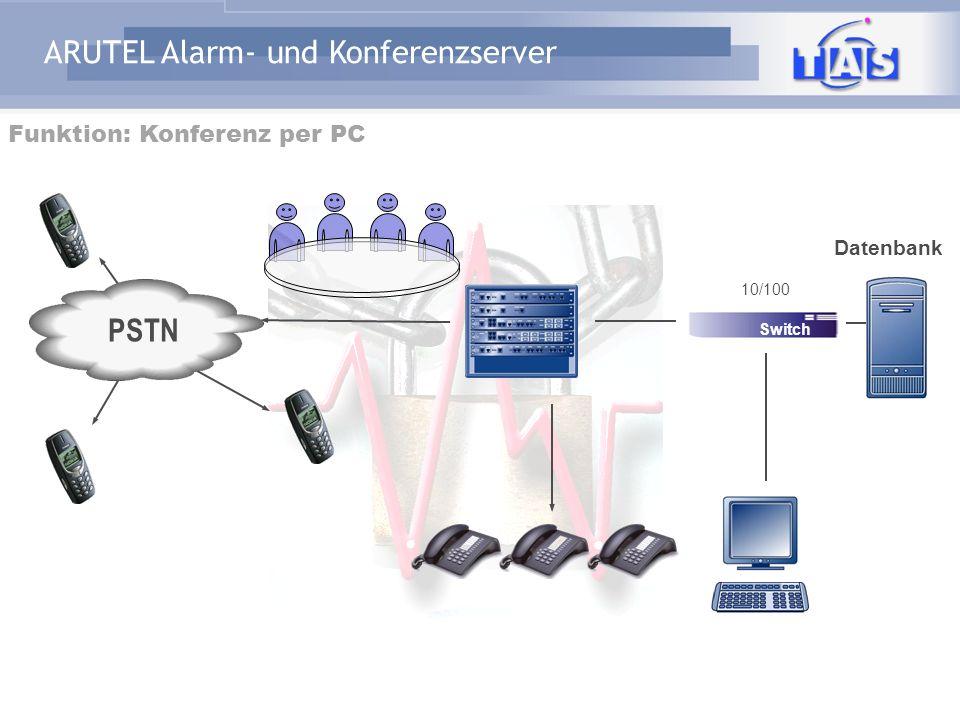 ARUTEL Alarm- und Konferenzserver Switch PSTN Datenbank 10/100 TK-Anlage und ARUTEL Rufnr.-Plan PP Schröder...1234 PP Meier...4567 PP Thomas...8901 Ei