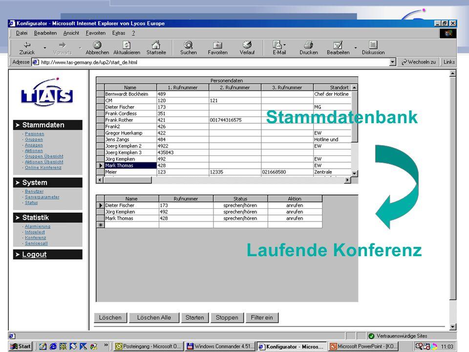ARUTEL Alarm- und Konferenzserver Switch PSTN Datenbank 10/100 Funktion: Konferenz per PC