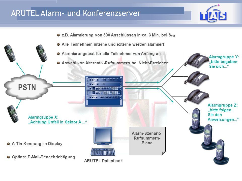 ARUTEL Alarm- und Konferenzserver PSTN Integration ARUTEL an die Telefonanlage LAN / Ethernet S 2M / S 0 EDSS1 Q-Sig Einfach Erweiterbar auf 60 / 90 /