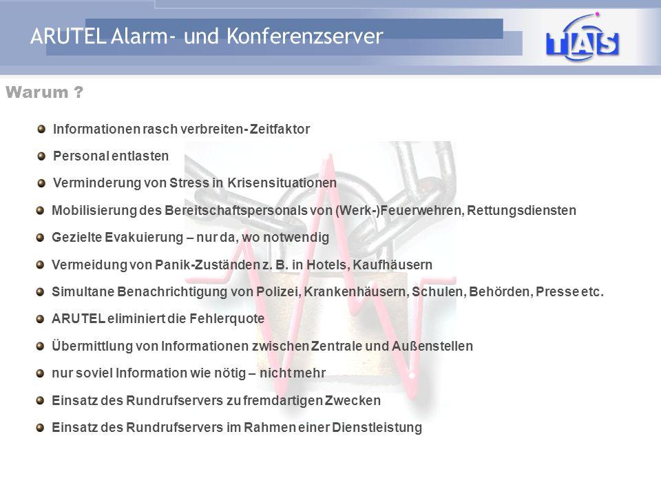 ARUTEL Alarm- und Konferenzserver Alarmgruppe X: Achtung Unfall in Sektor A... ARUTEL Datenbank Alarm-Szenario Rufnummern- Pläne PSTN z.B. Alarmierung