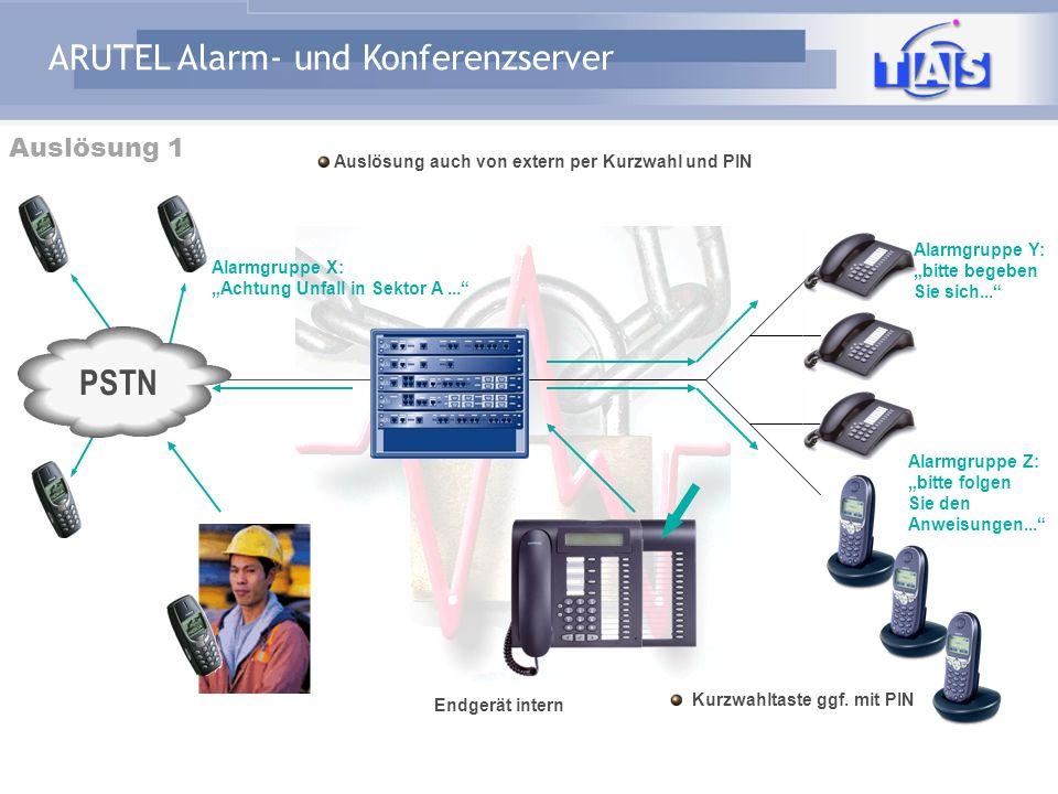 ARUTEL Alarm- und Konferenzserver Anwendungsbeispiele Bank:Von Bombendrohung bis Parkhausschranke Versicherung:Von Gebäude-Evakuierung bis Außendienst