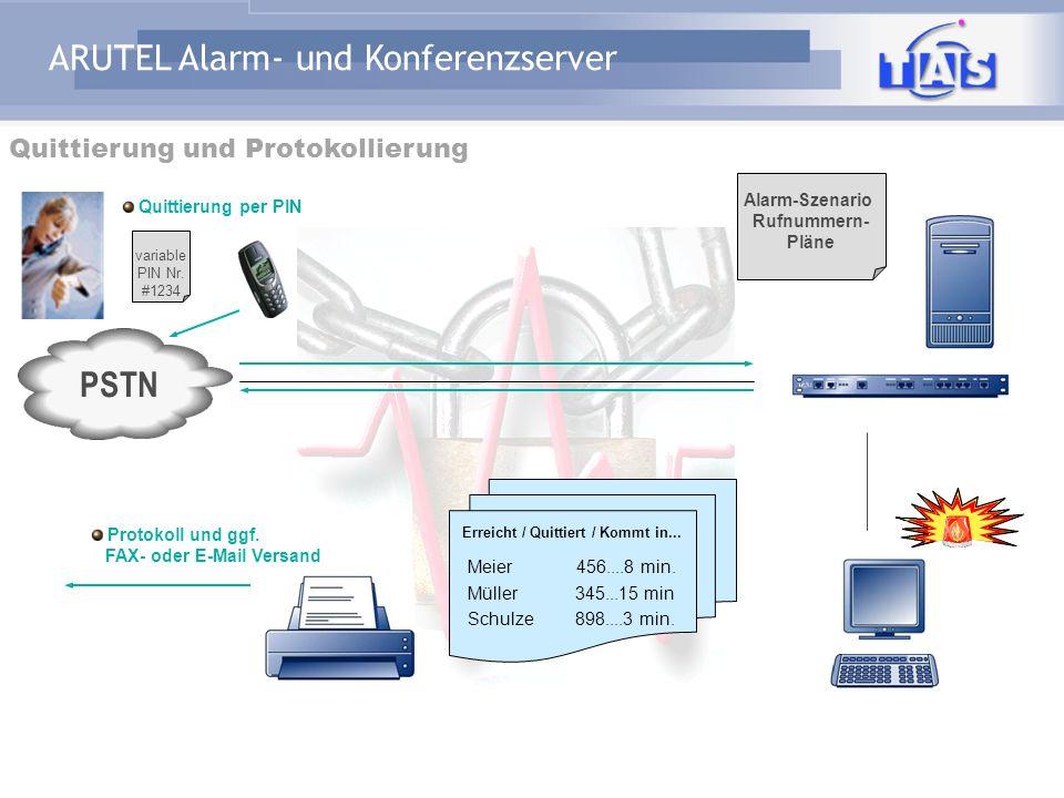 ARUTEL Alarm- und Konferenzserver Beispiel Bildschirm Alarmgruppen Konfigurierte Alarmgruppen mit Personen aus der Stammdatenbank