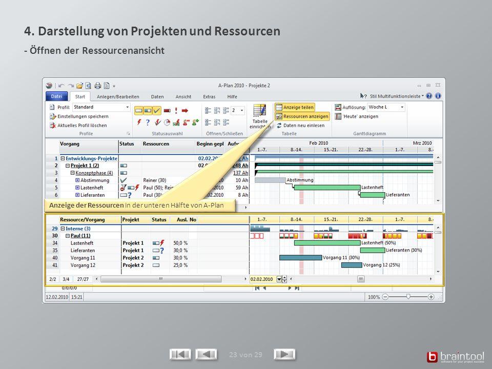 4. Darstellung von Projekten und Ressourcen - Öffnen der Ressourcenansicht 23 von 29 Anzeige der Ressourcen in der unteren Hälfte von A-Plan