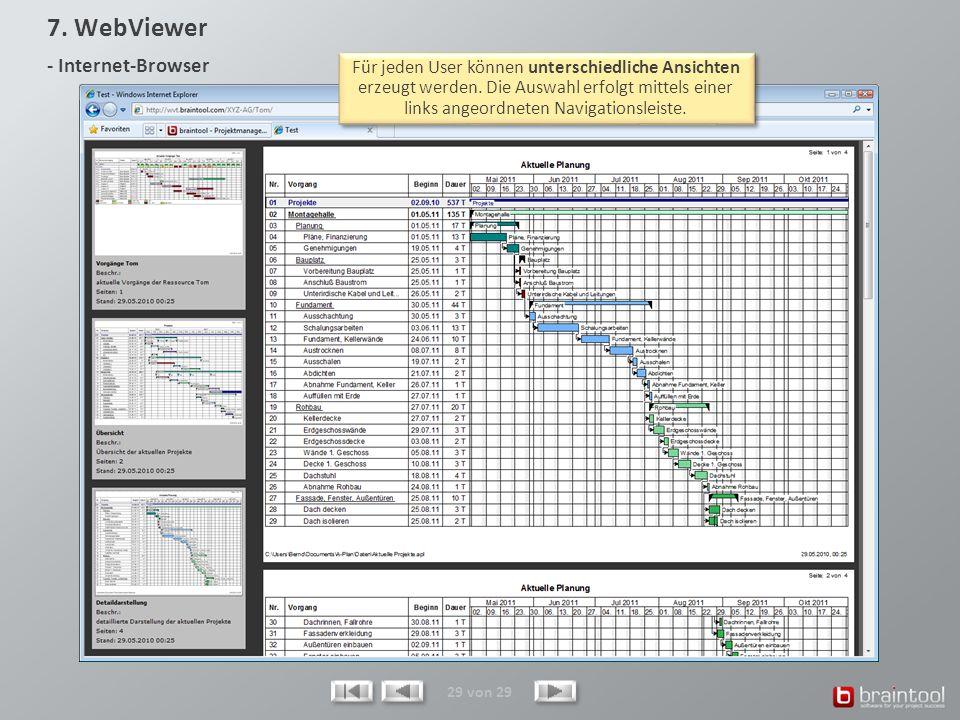 29 von 29 Der optional erhältliche WebViewer versorgt beliebige Personen mit allen erforderlichen und immer aktuellen Projektdaten. Hierfür ist weder