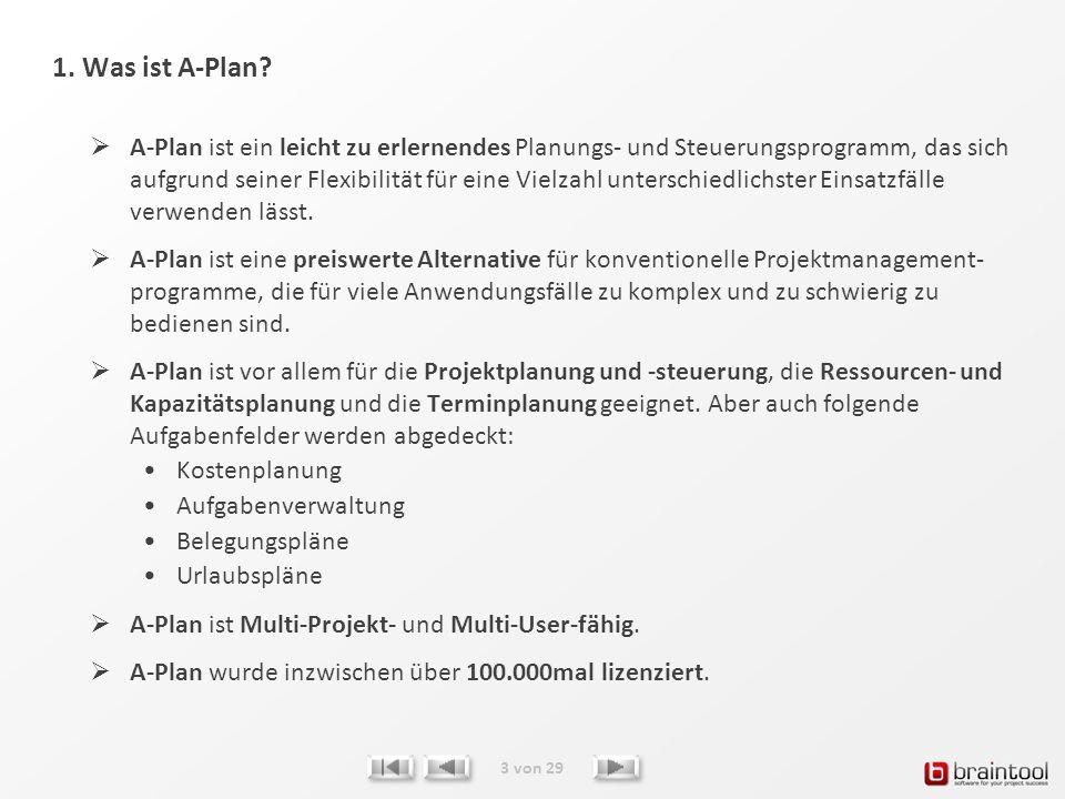 1. Was ist A-Plan? A-Plan ist ein leicht zu erlernendes Planungs- und Steuerungsprogramm, das sich aufgrund seiner Flexibilität für eine Vielzahl unte