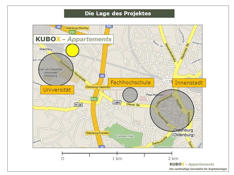 O1 km2 km Innenstadt Universität Fachhochschule Die Lage des Projektes