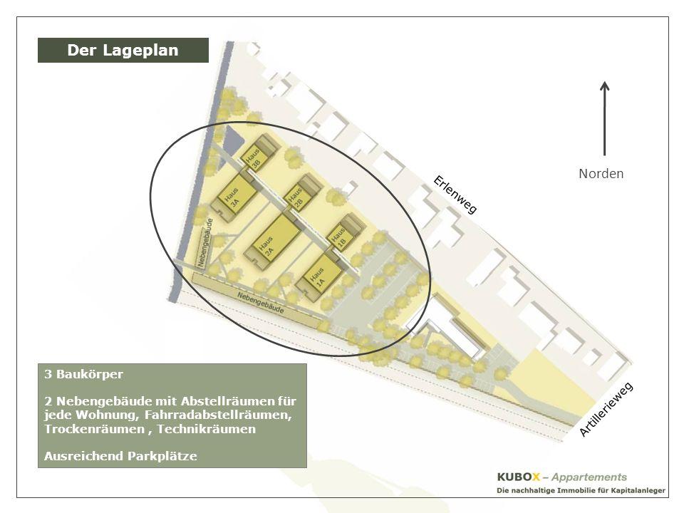 Artillerieweg Erlenweg Der Lageplan Norden 3 Baukörper 2 Nebengebäude mit Abstellräumen für jede Wohnung, Fahrradabstellräumen, Trockenräumen, Technikräumen Ausreichend Parkplätze