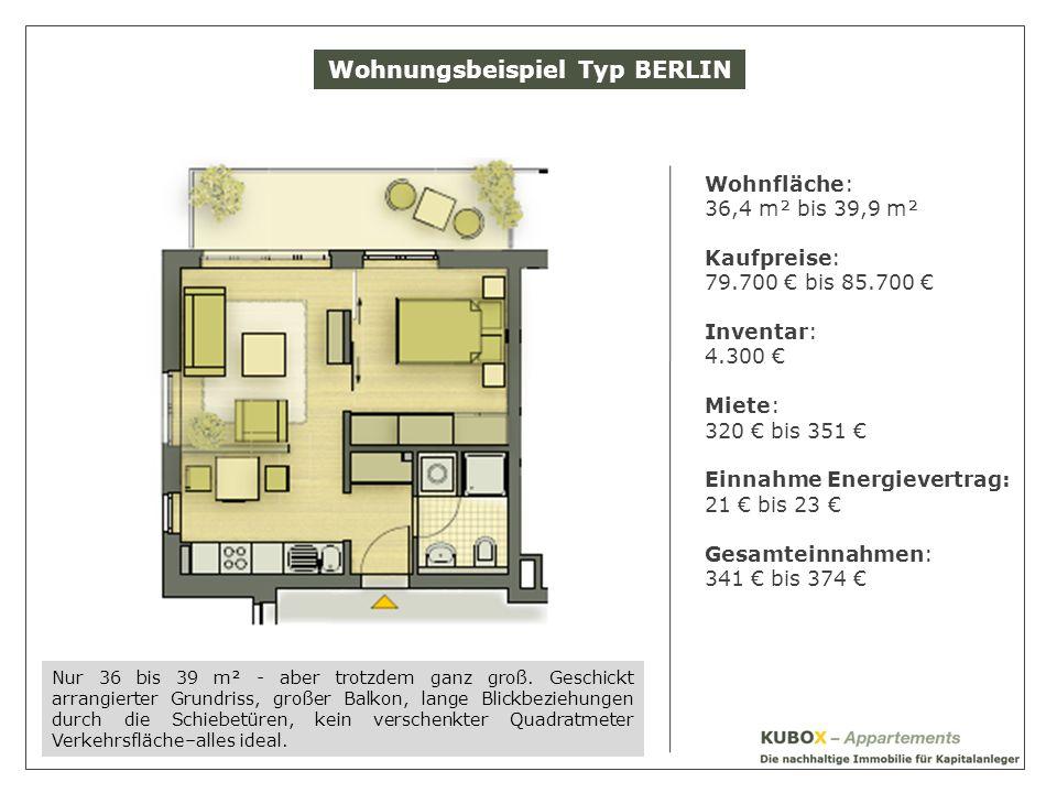 Wohnungsbeispiel Typ BERLIN Wohnfläche: 36,4 m² bis 39,9 m² Kaufpreise: 79.700 bis 85.700 Inventar: 4.300 Miete: 320 bis 351 Einnahme Energievertrag: 21 bis 23 Gesamteinnahmen: 341 bis 374 Nur 36 bis 39 m² - aber trotzdem ganz groß.