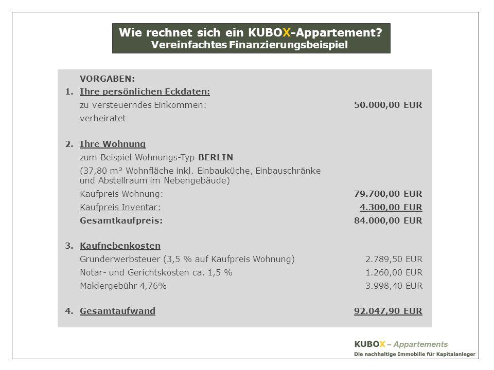 VORGABEN: 1.Ihre persönlichen Eckdaten: zu versteuerndes Einkommen:50.000,00 EUR verheiratet 2.Ihre Wohnung zum Beispiel Wohnungs-Typ BERLIN (37,80 m² Wohnfläche inkl.