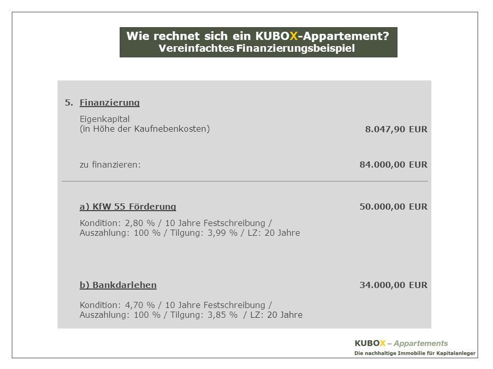 5.Finanzierung Eigenkapital (in Höhe der Kaufnebenkosten)8.047,90 EUR zu finanzieren:84.000,00 EUR a) KfW 55 Förderung50.000,00 EUR Kondition: 2,80 % / 10 Jahre Festschreibung / Auszahlung: 100 % / Tilgung: 3,99 % / LZ: 20 Jahre b) Bankdarlehen34.000,00 EUR Kondition: 4,70 % / 10 Jahre Festschreibung / Auszahlung: 100 % / Tilgung: 3,85 % / LZ: 20 Jahre Wie rechnet sich ein KUBOX-Appartement.