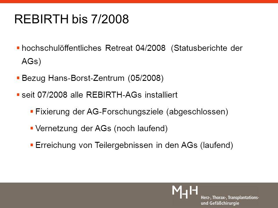 hochschulöffentliches Retreat 04/2008 (Statusberichte der AGs) Bezug Hans-Borst-Zentrum (05/2008) seit 07/2008 alle REBIRTH-AGs installiert Fixierung der AG-Forschungsziele (abgeschlossen) Vernetzung der AGs (noch laufend) Erreichung von Teilergebnissen in den AGs (laufend) REBIRTH bis 7/2008