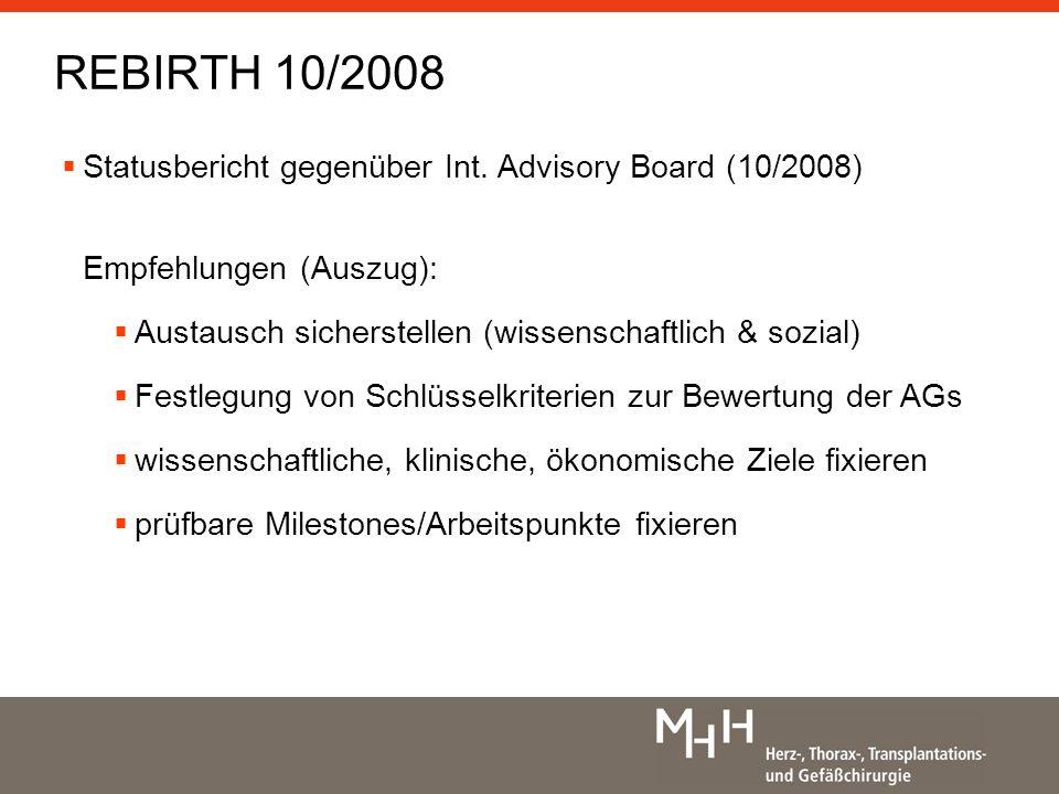 Statusbericht gegenüber Int.