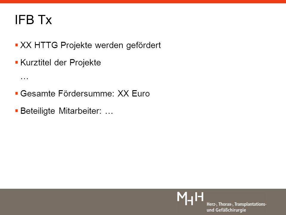 XX HTTG Projekte werden gefördert Kurztitel der Projekte … Gesamte Fördersumme: XX Euro Beteiligte Mitarbeiter: … IFB Tx
