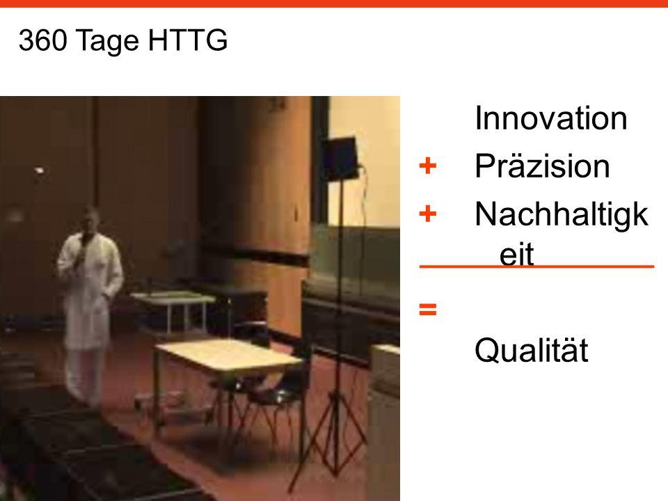 Innovation Präzision Nachhaltigk eit Qualität 360 Tage HTTG ++=++=