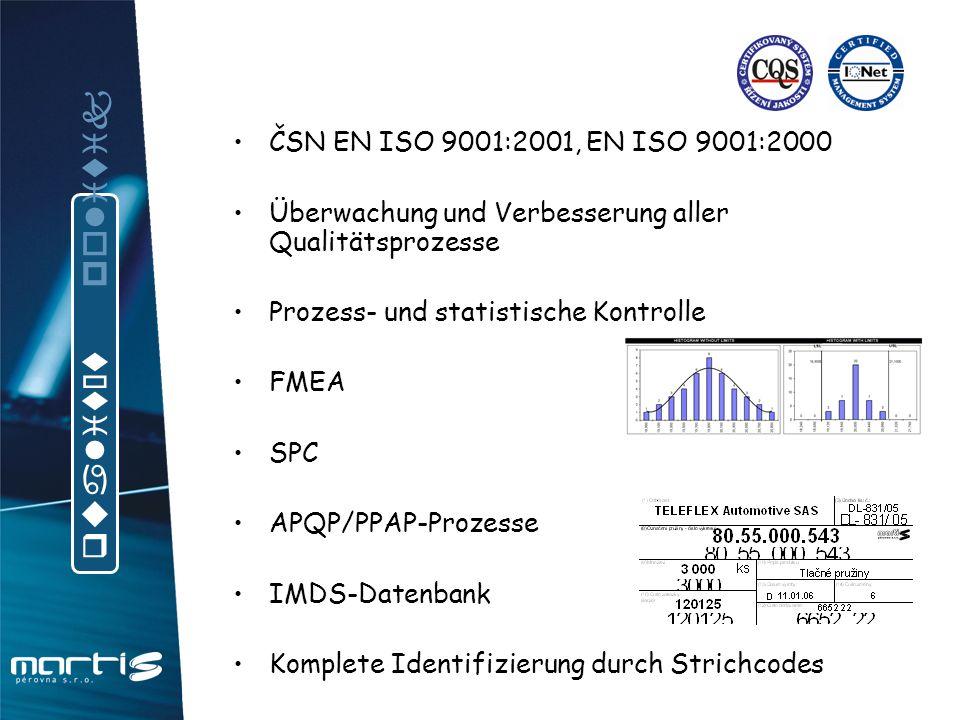 ČSN EN ISO 9001:2001, EN ISO 9001:2000 Überwachung und Verbesserung aller Qualitätsprozesse Prozess- und statistische Kontrolle FMEA SPC APQP/PPAP-Pro