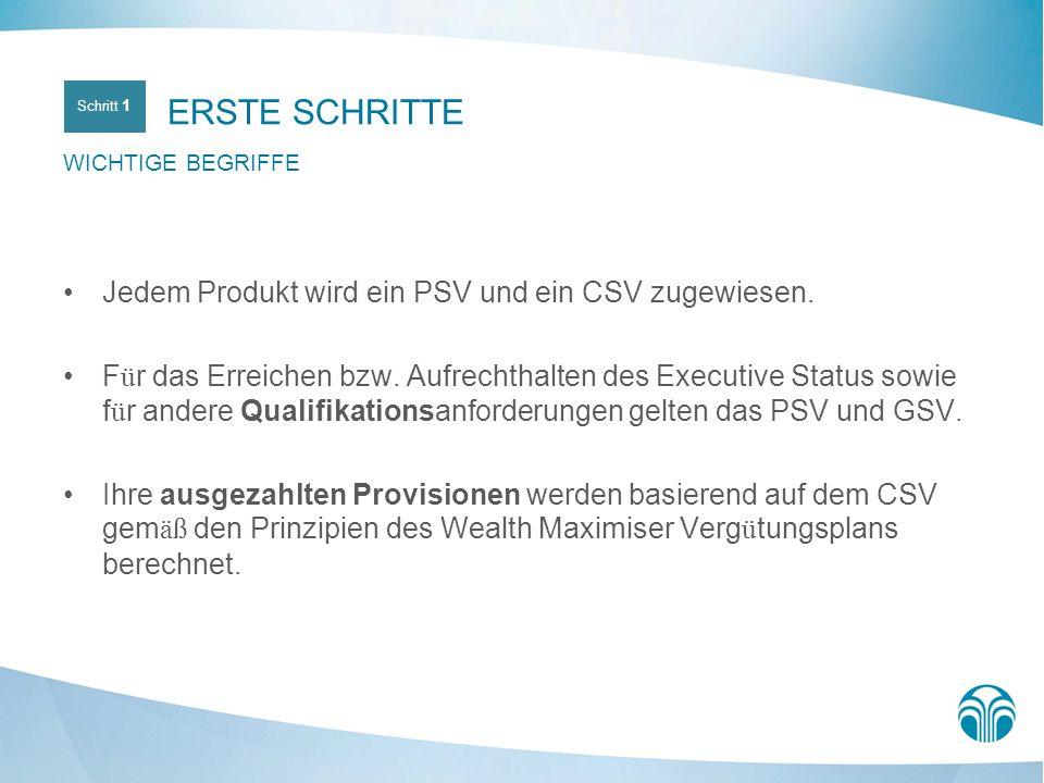 Jedem Produkt wird ein PSV und ein CSV zugewiesen. F ü r das Erreichen bzw. Aufrechthalten des Executive Status sowie f ü r andere Qualifikationsanfor